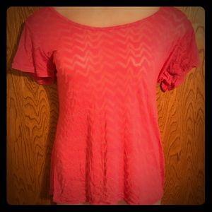 Hot Pink Jagged Chevron Burnout Tee Shirt 3x